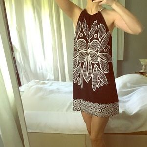 Macy's Alfani black & white fit and flair dress